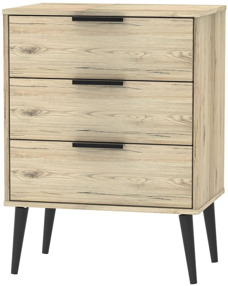 Hong Kong Bordeaux Oak 3 Drawer Chest with Wooden Legs