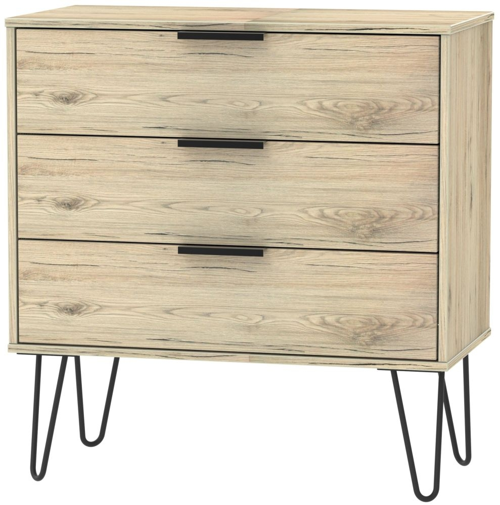 Hong Kong Bordeaux Oak 3 Drawer Midi Chest with Hairpin Legs