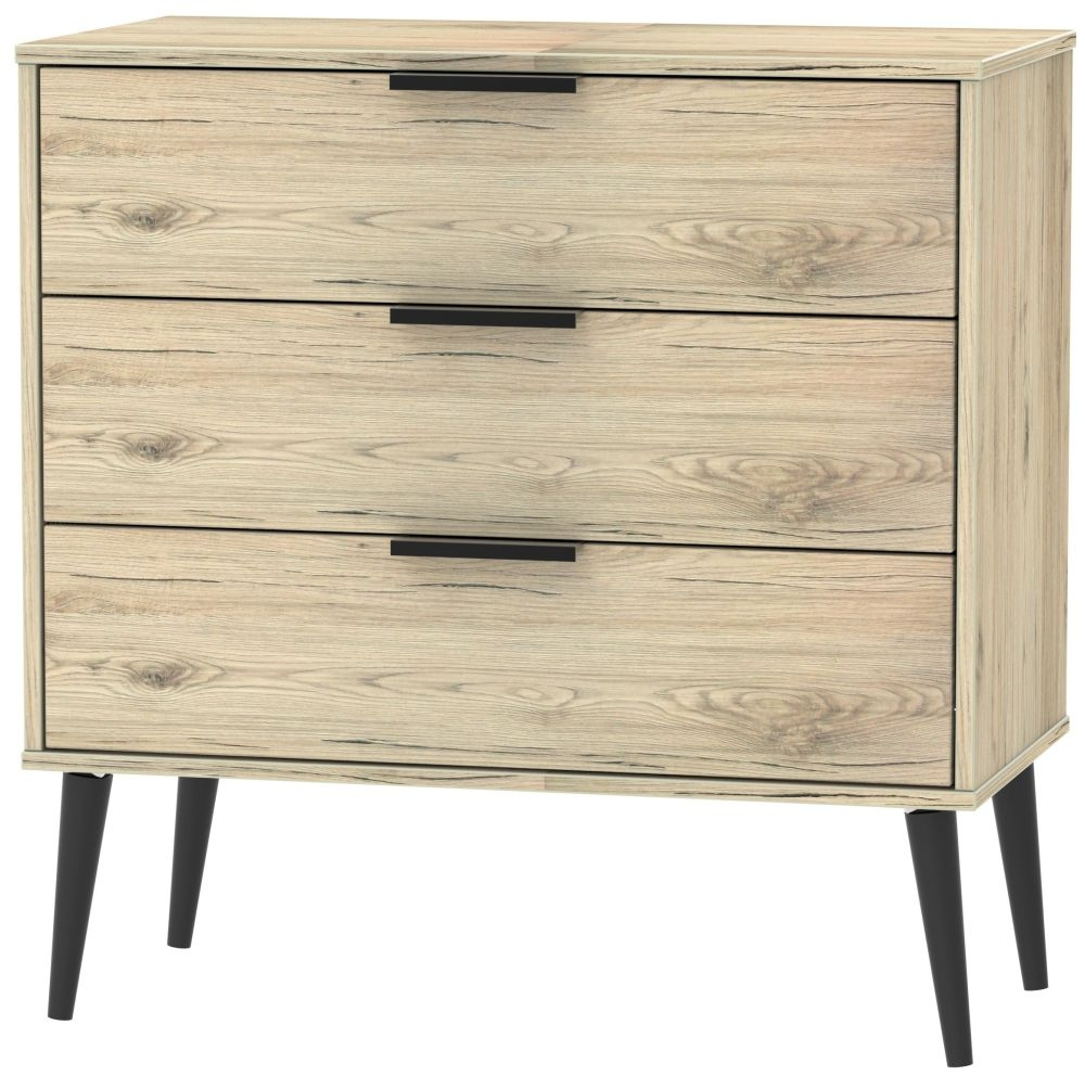 Hong Kong Bordeaux Oak 3 Drawer Midi Chest with Wooden Legs