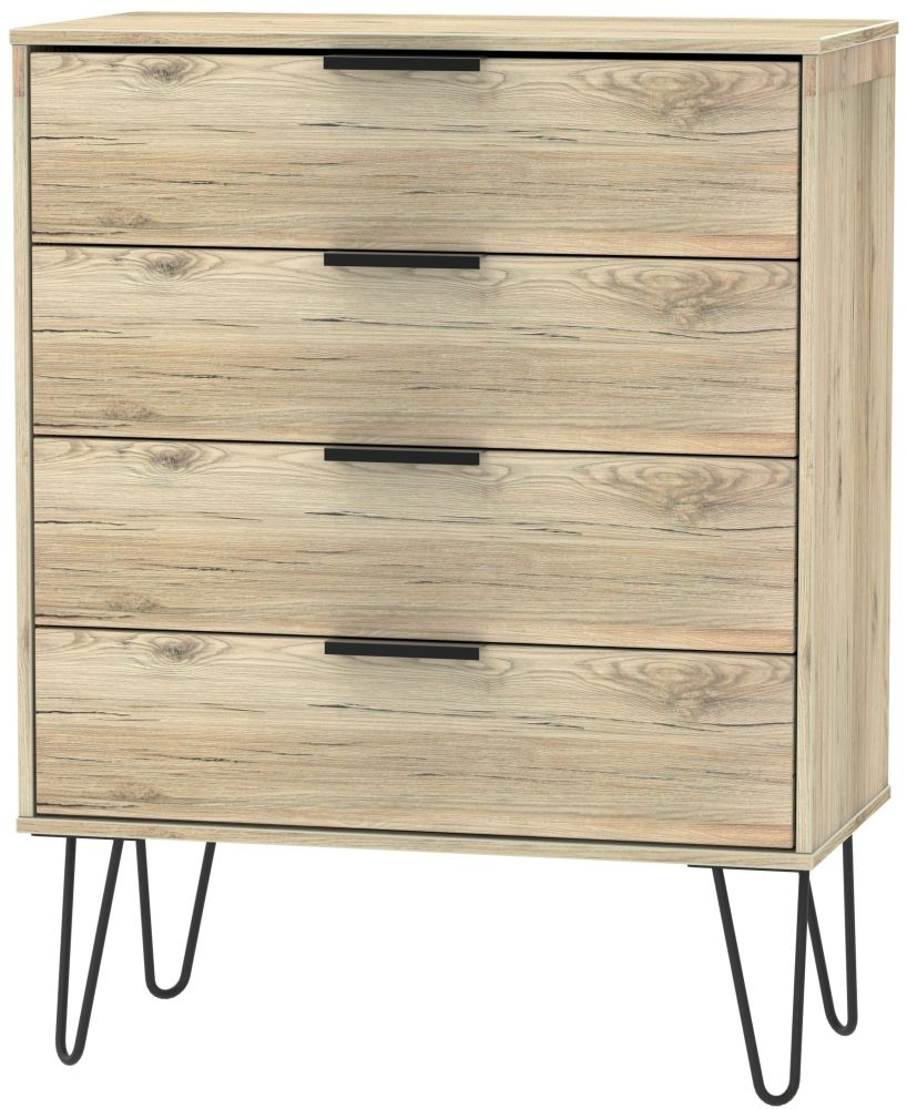 Hong Kong Bordeaux Oak 4 Drawer Chest with Hairpin Legs