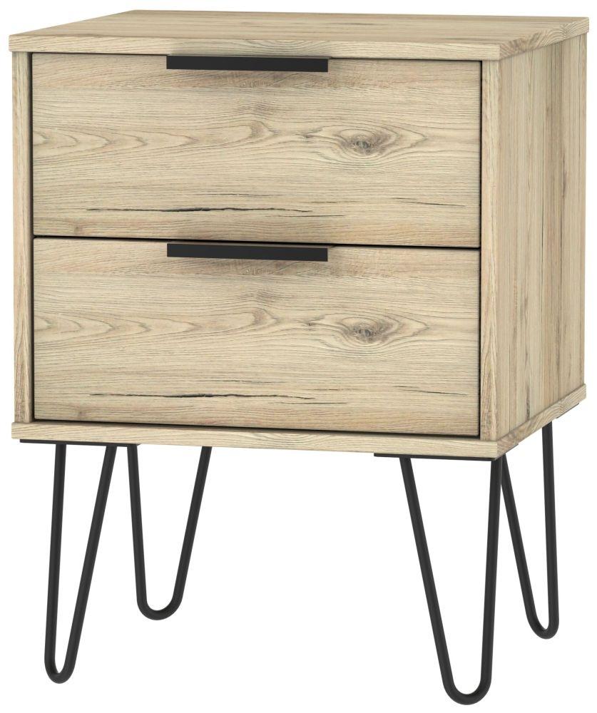 Hong Kong Bordeaux Oak 2 Drawer Bedside Cabinet with Hairpin Legs