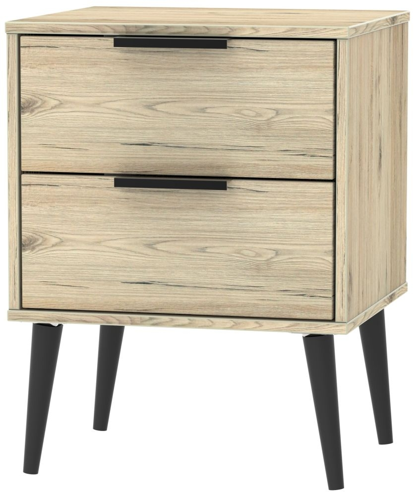 Hong Kong Bedside Cabinet with Wooden Legs - Bordeaux Oak