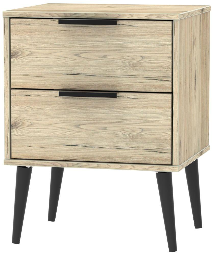 Hong Kong Bordeaux Oak 2 Drawer Bedside Cabinet with Wooden Legs