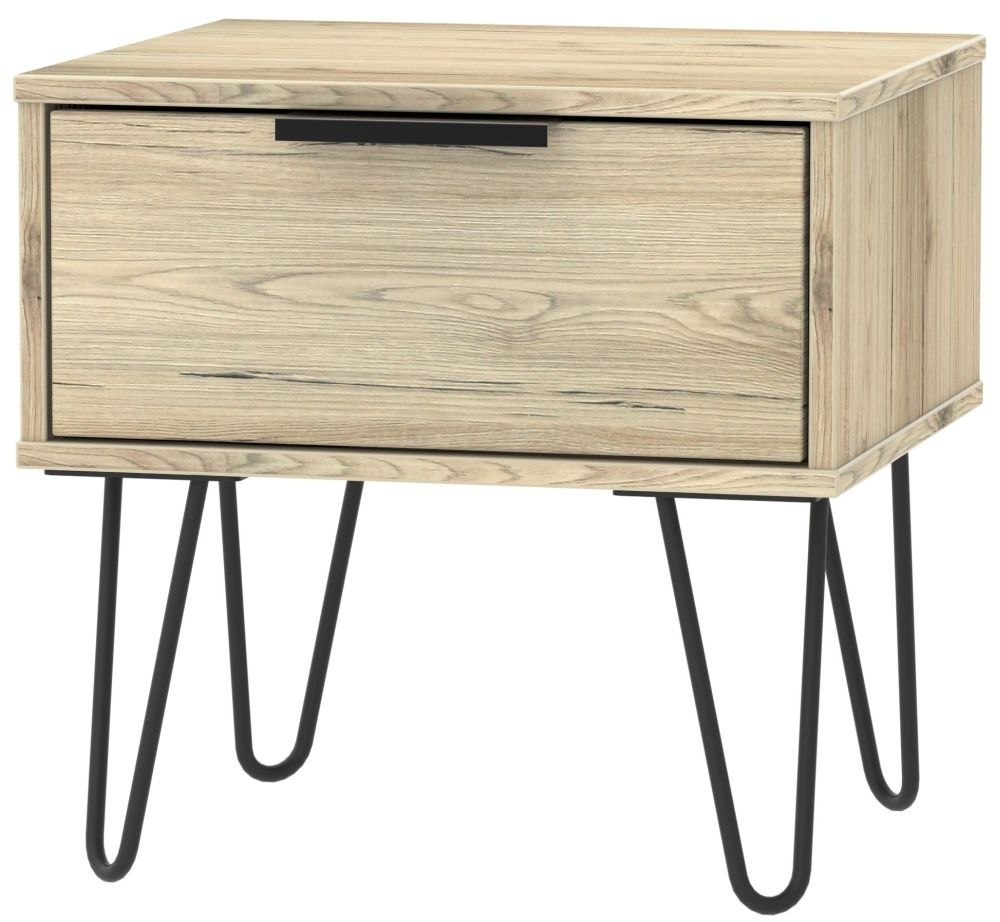 Hong Kong Bordeaux Oak 1 Drawer Bedside Cabinet with Hairpin Legs