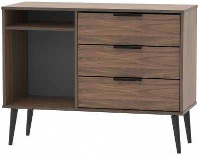 Hong Kong Carini Walnut 3 Drawer TV Unit with Wooden Legs