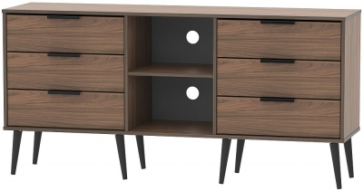 Hong Kong Carini Walnut 6 Drawer TV Unit with Wooden Legs