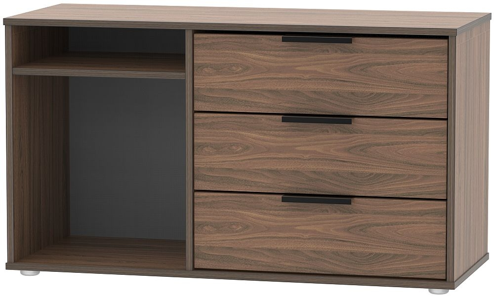 Hong Kong Carini Walnut 3 Drawer TV Unit with Glides Legs