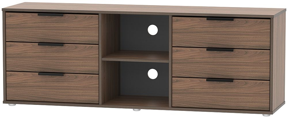 Hong Kong Carini Walnut 6 Drawer TV Unit with Glides Legs