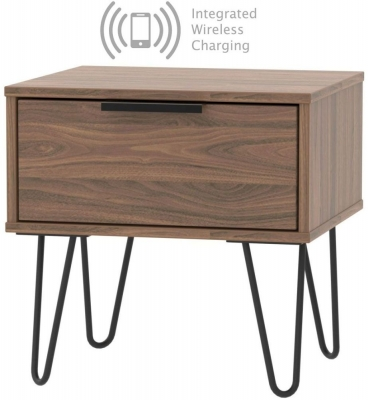 Hong Kong Carini Walnut 1 Drawer Bedside Cabinet with Hairpin Legs and Integrated Wireless Charging