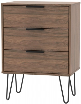 Hong Kong Carini Walnut 3 Drawer Chest with Hairpin Legs