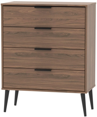 Hong Kong Carini Walnut 4 Drawer Chest with Wooden Legs