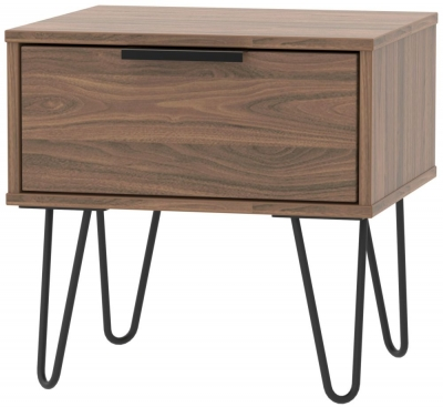 Hong Kong Carini Walnut 1 Drawer Bedside Cabinet with Hairpin Legs