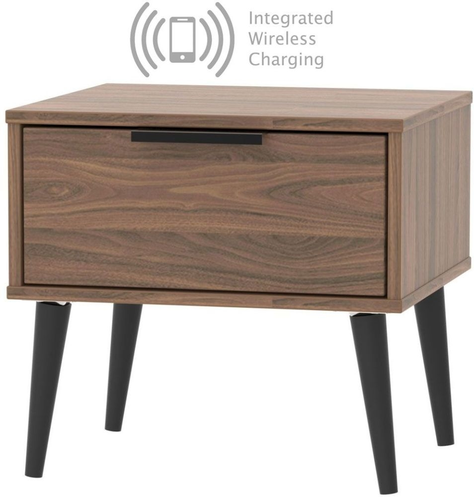 Hong Kong Carini Walnut 1 Drawer Bedside Cabinet with Wooden Legs and Integrated Wireless Charging