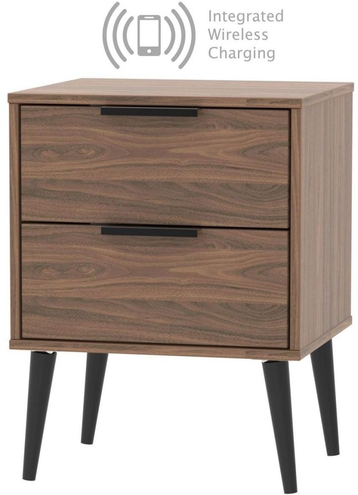 Hong Kong Carini Walnut 2 Drawer Bedside Cabinet with Wooden Legs and Integrated Wireless Charging