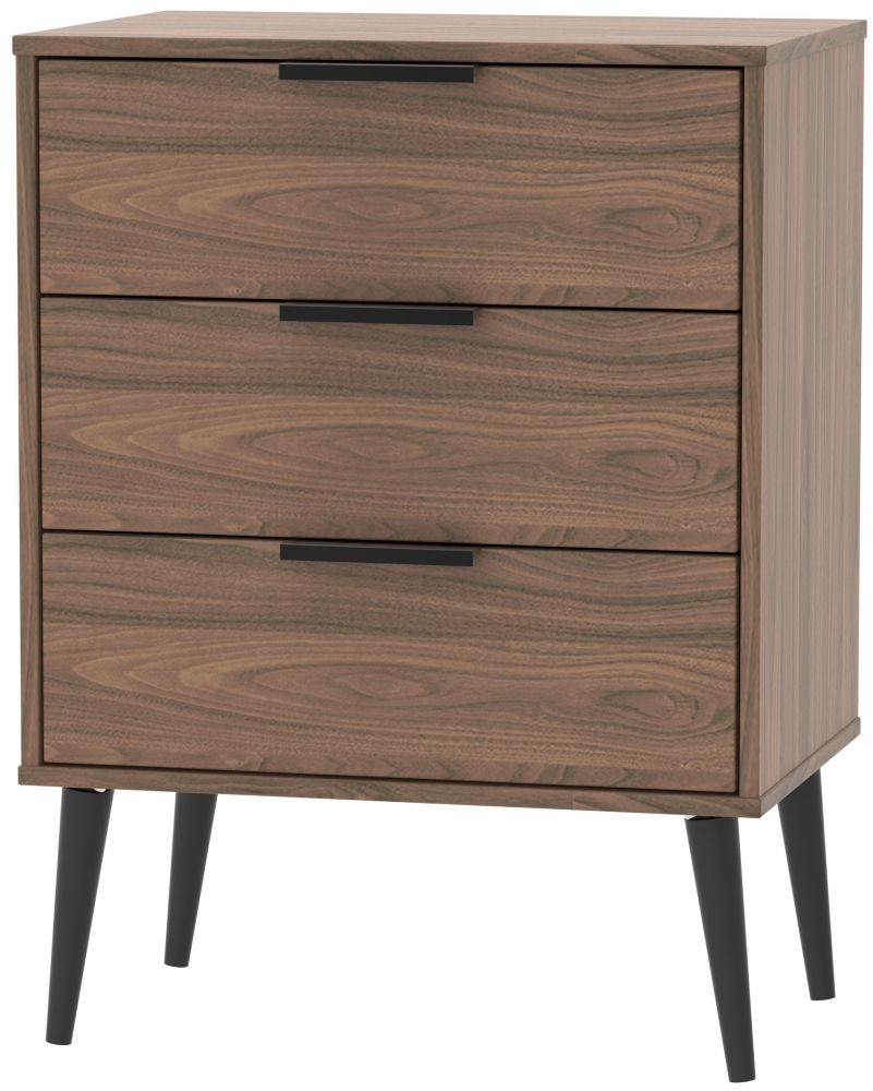 Hong Kong Carini Walnut 3 Drawer Chest with Wooden Legs