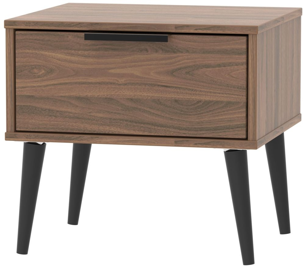 Hong Kong Carini Walnut 1 Drawer Bedside Cabinet with Wooden Legs