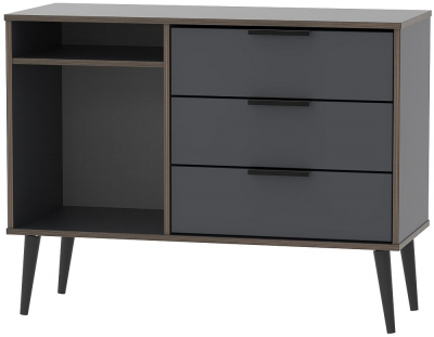 Hong Kong Graphite 3 Drawer TV Unit with Black Wooden Legs