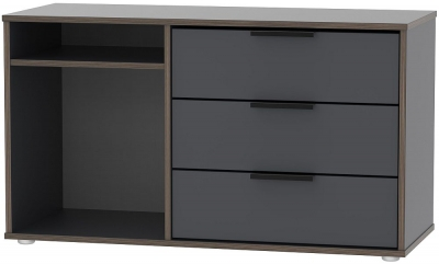 Hong Kong Graphite 3 Drawer TV Unit with Glides Legs