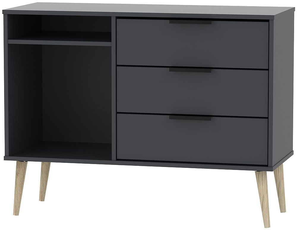 Hong Kong Graphite 3 Drawer TV Unit with Natural Wooden Legs