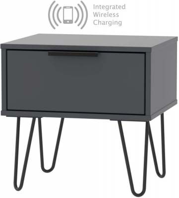 Hong Kong Graphite 1 Drawer Bedside Cabinet with Hairpin Legs and Integrated Wireless Charging