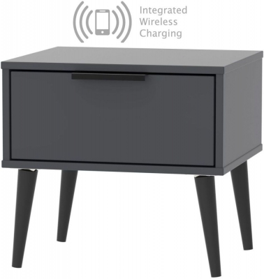 Hong Kong Graphite 1 Drawer Bedside Cabinet with Wooden Legs and Integrated Wireless Charging