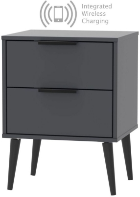 Hong Kong Graphite 2 Drawer Bedside Cabinet with Wooden Legs and Integrated Wireless Charging