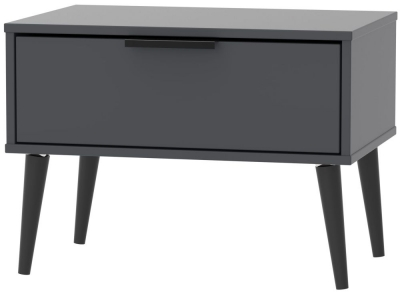 Hong Kong Graphite 1 Drawer Midi Chest with Wooden Legs