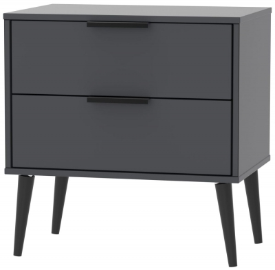 Hong Kong Graphite 2 Drawer Midi Chest with Wooden Legs