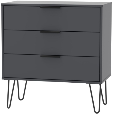 Hong Kong Graphite 3 Drawer Midi Chest with Hairpin Legs