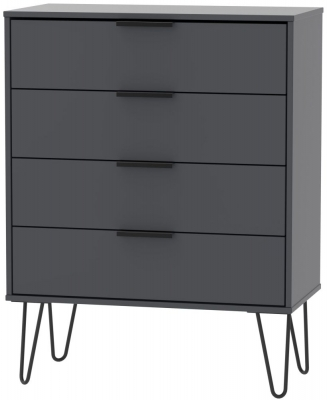 Hong Kong Graphite 4 Drawer Chest with Hairpin Legs