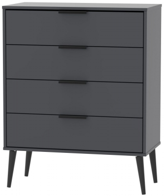Hong Kong Graphite 4 Drawer Chest with Wooden Legs