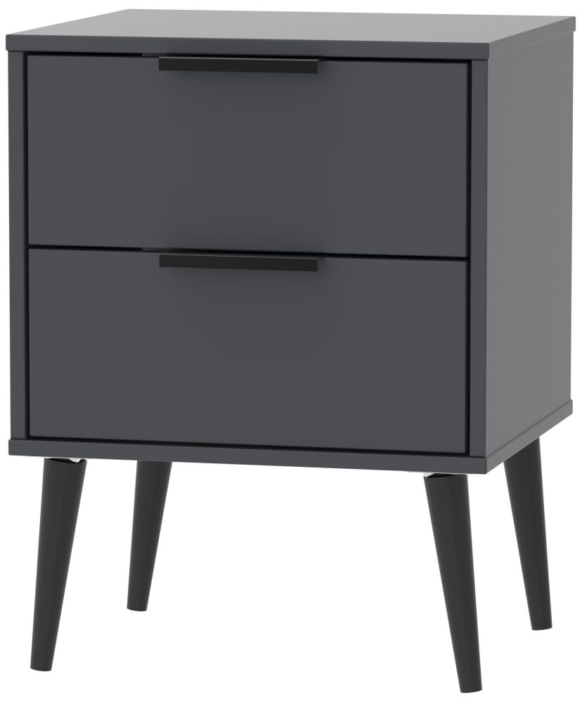 Hong Kong Graphite 2 Drawer Bedside Cabinet with Wooden Legs