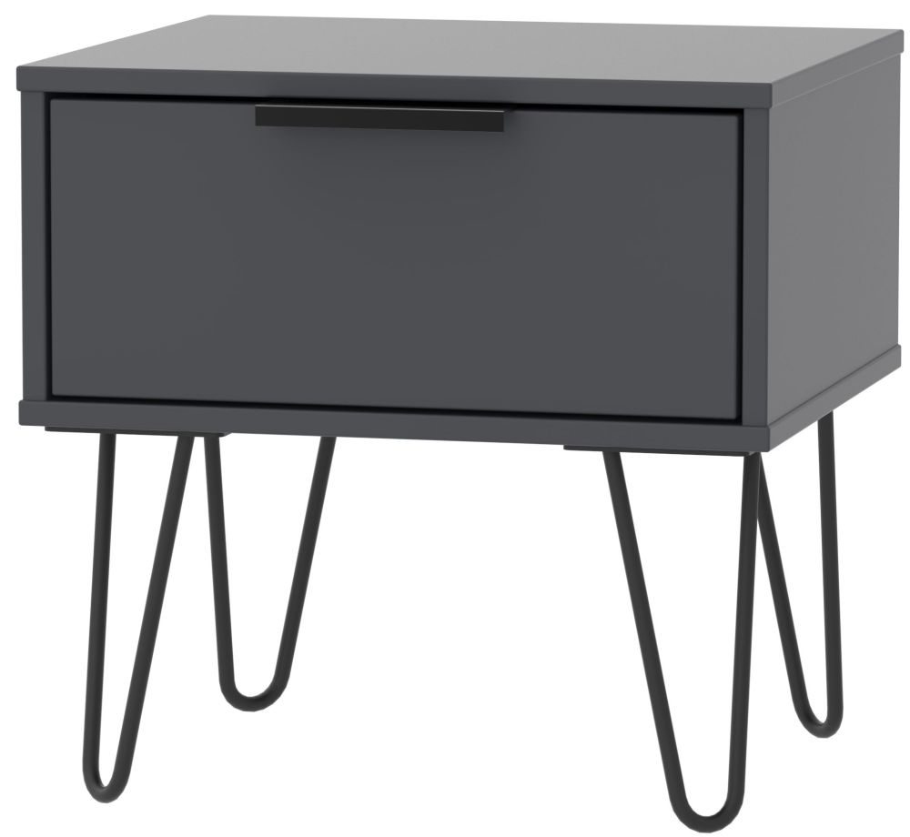 Hong Kong Graphite 1 Drawer Bedside Cabinet with Hairpin Legs