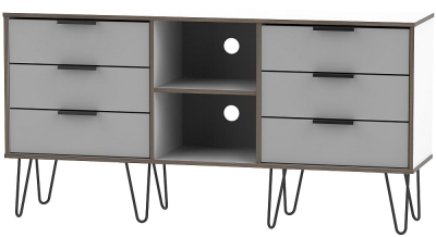 Hong Kong 6 Drawer TV Unit with Hairpin Legs - Grey and White