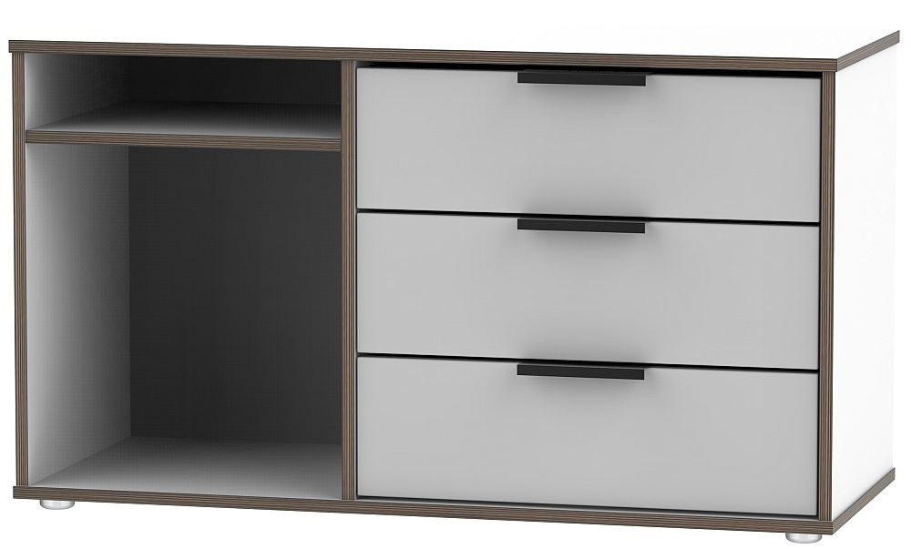 Hong Kong 3 Drawer TV Unit with Glides Legs - Grey and White