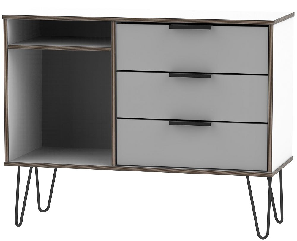 Hong Kong 3 Drawer TV Unit with Hairpin Legs - Grey and White