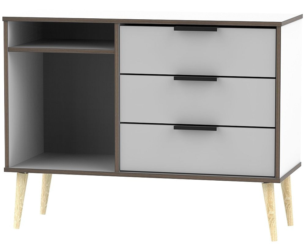Hong Kong 3 Drawer TV Unit with Wooden Legs - Grey and White