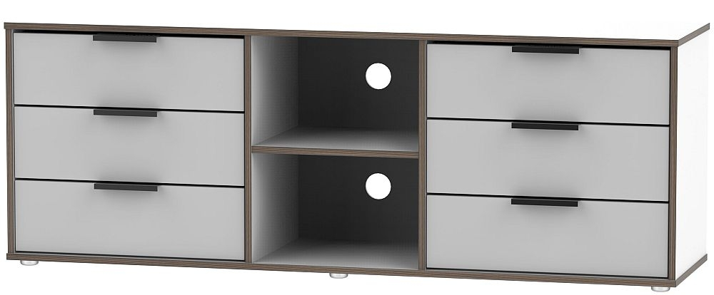 Hong Kong 6 Drawer TV Unit with Glides Legs - Grey and White