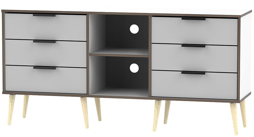 Hong Kong 6 Drawer TV Unit with Wooden Legs - Grey and White