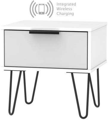 Hong Kong 1 Drawer Bedside Cabinet with Hairpin Legs and Integrated Wireless Charging - Grey and White