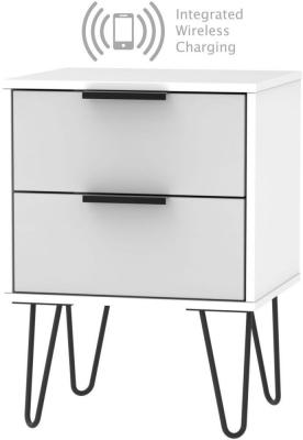 Hong Kong 2 Drawer Bedside Cabinet with Hairpin Legs and Integrated Wireless Charging - Grey and White
