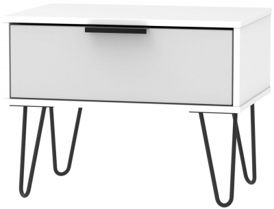 Hong Kong 1 Drawer Midi Chest with Hairpin Legs - Grey and White