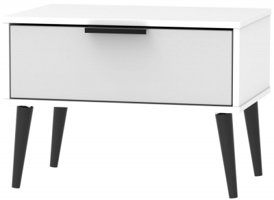 Hong Kong 1 Drawer Midi Chest with Wooden Legs - Grey and White