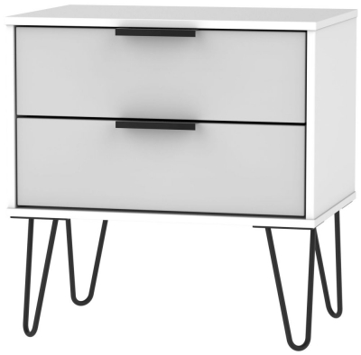 Hong Kong 2 Drawer Midi Chest with Hairpin Legs - Grey and White