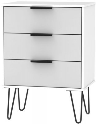 Hong Kong 3 Drawer Chest with Hairpin Legs - Grey and White