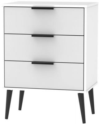 Hong Kong 3 Drawer Chest with Wooden Legs - Grey and White