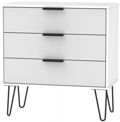 Hong Kong 3 Drawer Midi Chest with Hairpin Legs - Grey and White