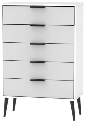 Hong Kong 5 Drawer Chest with Wooden Legs - Grey and White