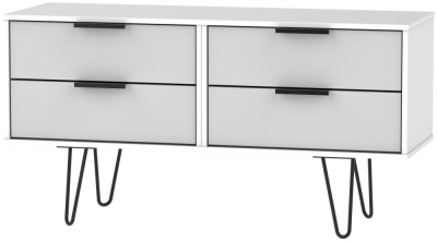 Hong Kong Bed Box with Hairpin Legs - Grey and White
