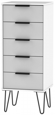 Hong Kong Tall Bedside Cabinet with Hairpin Legs - Grey and White